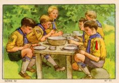 Scouts sharing a meal
