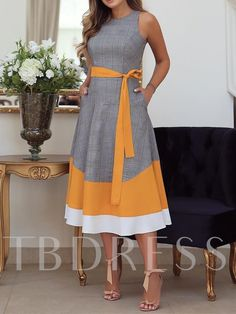 Sleeveless Patchwork Mid-Calf Western Color Block Womens Maxi Dress Online store for the latest fashion & trends in women's collection. Shop affordable ladies' Dresses, Clothing, Shoes & Accessories with top quality. Cheap Maxi Dresses, Casual Dresses, Fashion Dresses, Fall Dresses, Stylish Dresses, Fashion Clothes, Colorblock Dress, Look Fashion, Boho Dress