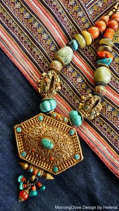 Tibetan Woman's Gau, turquoise and coral necklace