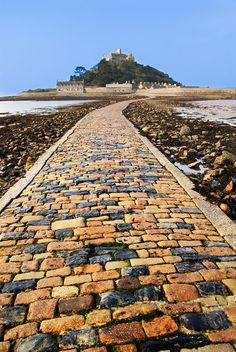 St Michael's Mount, off the coast of Cornwall, UK, at low tide you can walk across to The Mount
