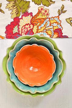 Lee Wolfe Pottery — Ceramic Nesting Bowl Set in Neon handmade bowls