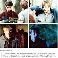 Omg Merlin looks so hurt in the first one.Arthur loved the blue cloak as much as he loved Merlin. Still such an amazing scene ❤ Merlin Memes, Merlin Funny, Merlin Quotes, Sherlock Quotes, Merlin Show, Merlin Fandom, Merlin Merlin, Watch Merlin, Bradley James