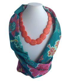 Teal Flower Beaded Scarf | Indigo Heart - Fair Trade Fashion A$23.95