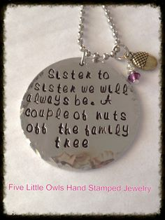 Ready To ShipHand stamped sister by Fivelittleowls on Etsy, $32.00