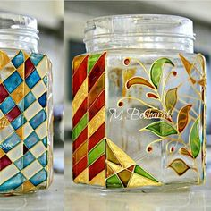 Glass Painting Patterns, Painting Glass Jars, Glass Painting Designs, Bottle Painting, Diy Painting, Glass Art, Stained Glass Flowers, Stained Glass Paint, Wine Bottle Art