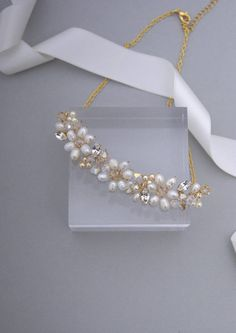 Bridal necklace gold wedding necklace swarovski pearl and