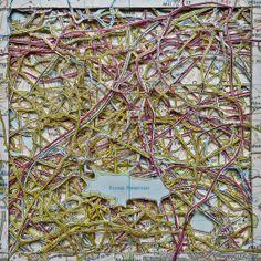 Eccup (Square stacked hand cut map art) Leeds, West Yorkshire (Emma Porium via Etsy)