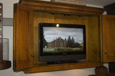 Great way to hide your T.V. so that it blends in with your primitive décor....