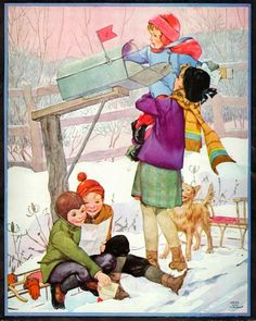 """Children At The Mailbox"" by Miriam Story Hurford - from the cover of the 1932 February issue of 'Women's World' magazine"