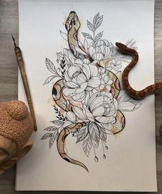 Fine stroke: the tattoo in the Fineline style - Tattoos - tatos Leg Tattoos, Body Art Tattoos, Small Tattoos, Sleeve Tattoos, Tatoos, Snake And Flowers Tattoo, Flower Tattoos, Dahlia Tattoo, Tattoo Sketches