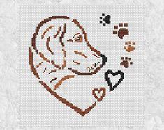 Dog Heart cross stitch pattern paw prints gift for dog or Cross Stitch Patterns Free Easy, Cross Stitch Designs, Cross Stitching, Cross Stitch Embroidery, Embroidery Patterns, Cross Stitch Heart, Simple Cross Stitch, Easy Stitch, Sewing Art