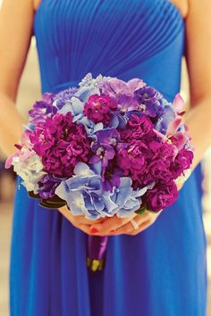 Radiant orchid + something blue ~ Best #Wedding #Bouquets of 2013 ~ Photography: Sarah Kate | bellethemagazine.com