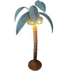 Palm Tree Floor Lamp in Rattan and Bamboo | From a unique collection of antique and modern floor lamps  at https://www.1stdibs.com/furniture/lighting/floor-lamps/