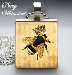 Queen Bee Crown  Scrabble Tile Pendant Jewelry by prettywhimsical, $7.95 LOVE it