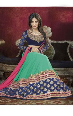 Show details for Awesome Mint Green and Navy Blue Color Lehenga Choli