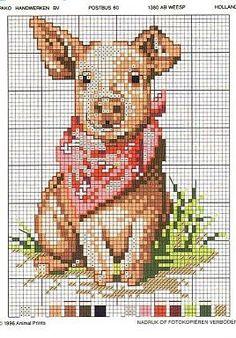 Pig Cross Stitch Pattern without Readable Key Cross Stitch Charts, Cross Stitch Designs, Cross Stitch Patterns, Cross Stitching, Cross Stitch Embroidery, Embroidery Patterns, Cross Stitch Kitchen, Cross Stitch Animals, Back Stitch