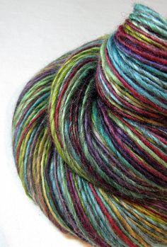 Handspun Yarn Gently Thick and Thin Single Mixed by SheepingBeauty, $36.00