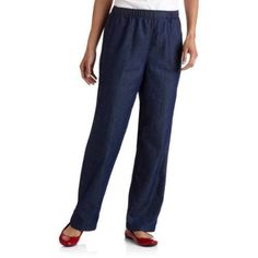 White Stag Women's Elastic Waistband Woven Pull-On Pants available in Regular and Petite, Size: Medium, Blue