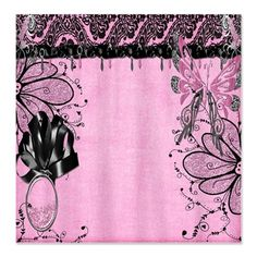 Black Polka Dot Pink Shower Curtain