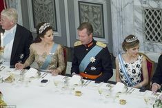 Crown Princess Mary of Denmark, Grand Duke Henri of Luxembourg and Queen Letizia enjoy Queen Margrethe II of Denmark's 75th birthday dinner.
