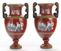 A Pair Of Neoclassical-Style Earthenware Amphora Vases. Late 18th century.