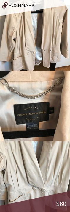 French Connection Leather Blazer Chic genuine leather Blazer. You so need this in your wardrobe. Great Condition! French Connection Jackets & Coats Blazers