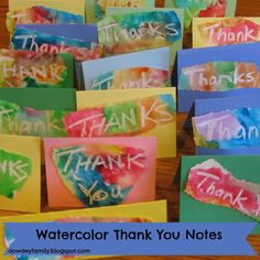 Watercolor Thank You Note great idea for preschool class for thank you notes for stewardship