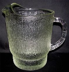 "Indiana Glass CRYSTAL ICE CLEAR 64 oz Pitcher Lipped Textured Tree Bark 7"" tall by libertyhallgirl on Etsy"