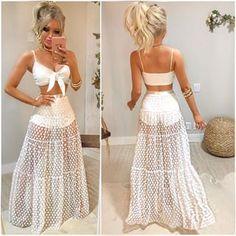 2019 Women Beach Summer Mesh Polka Dot Skirt Hight Waist Maxi White Lace Skirt T… - Skirt Ideas Mode Outfits, Chic Outfits, Summer Outfits, Summer Dresses, Boho Fashion, Fashion Dresses, Fashion Looks, White Lace Skirt, Chiffon