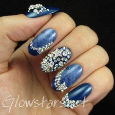 Stars and Slanted French Tips: A manicure using Barry M Denim, L'Oreal Magic Croisette and Colorama Compartilha!