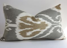 Ikat Pillow Cover/ 12x20 Lumbar /  Kravet Linen in Slate. $33.00, via Etsy.