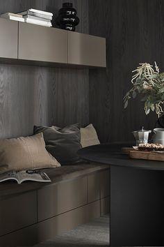 Arkitekt plus Bark Cocinas Kitchen, Brown Kitchens, Vintage Kitchen, Cabinet, Dining, Storage, Inspiration, Furniture, Home Decor