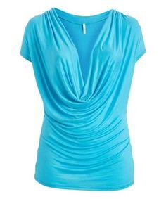 4ccf495acd5 Celeste Blue Drape Top - Plus