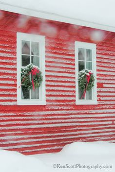 Christmas wreaths, red house, snow