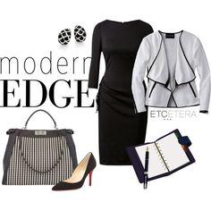 Etcetera | Spring 2015 - OPTICAL white tweed jacket with vegan leather edging. JORDAN black knit dress.