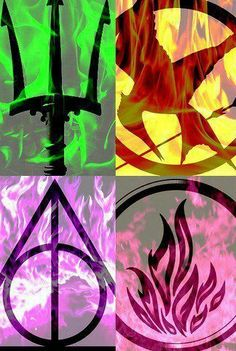 I am a big fan of Percy jackson (top left), Hunger Games (top right), Harry Potter (Bottom Left) and Divergent (bottom right)