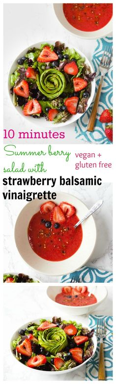 Vegan summer berry salad with strawberry balsamic vinaigrette is bursting with fresh fruity flavors. 10 minutes is all you need to make this yummy salad . Vegetarian Platter, Vegetarian Recipes Dinner, Lunch Recipes, Vegan Recipes, Dinner Recipes, Vegan Food, Delicious Recipes, Vegan Vegetarian, Free Recipes
