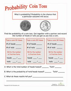 Worksheet Probability Worksheets 7th Grade worksheets and numbers on pinterest coin toss probability worksheet education com