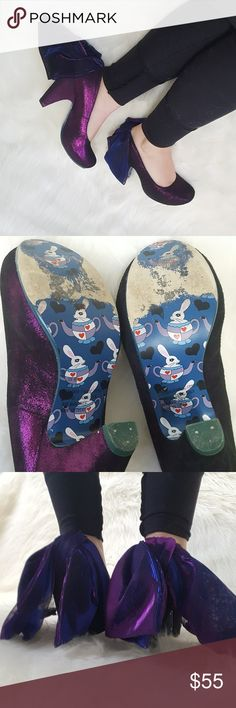 Irregular Choice Purple BOW heels sz 37 6.5 Irregular Choice Purple Heels   sz 37, fits like a 6.5/7  Purple shiny Color Cute Big BOW detail on the back  Love the color but I am no longer wearing heels that much!  Fuzzy blue Lining   Pre owned.  Any queastions please ask away! Irregular Choice Shoes Heels