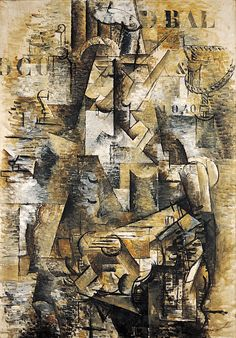 """GEORGES BRAQUE 1911: The Portuguese.  Oil on canvas,  3' 10 1/8"""" x 2' 8"""""""