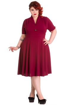Hell Bunny Plus Size 60's Vintage Style Jocelyn Flare Party Dress
