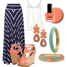 navy and coral, created by luchenskil on Polyvore