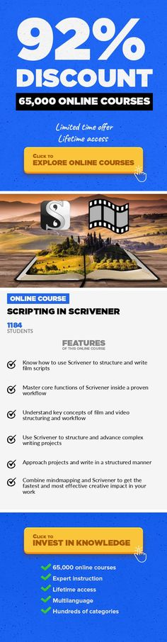 Scripting In Scrivener Media, Business  How to Write, Plan and Structure Great Film and Video Scripts with Scrivener Scripting In Scrivener shows you how to use the outstandingly good and powerful writing software Scrivener to outline, plan, structure and write film and video scripts effectively and easily. The course starts by taking you through the essential components of Scrivener, with a focus...