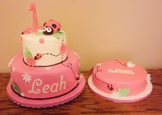 First birthday lady bug theme cake. Top tier, yellow butter cake with chocolate cookie dough filling. Bottom tier, strawberry lemonade cake with fresh strawberries. Smash cake, chocolate cake with vanilla buttercream.
