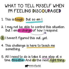 What to tell myself when I am feeling discouraged. Positive Self Talk, Positive Quotes, Happy Quotes, Quotes For Kids, Quotes To Live By, Feeling Discouraged, Life Journal, Bullet Journal, Self Care Activities