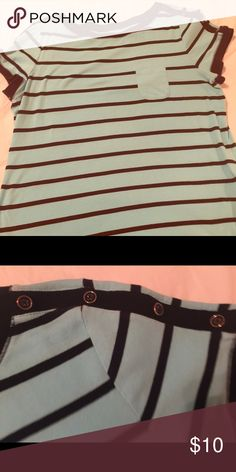 Talbots 2x t-shirt Light blue and black striped top. Looks great with black capris from Cato Talbots Tops Tees - Short Sleeve