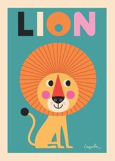 #Lion #poster 50x70 by #Ingela from www.kidsdinge.com http://instagram.com/kidsdinge https://www.facebook.com/pages/kidsdingecom-Origineel-speelgoed-hebbedingen-voor-hippe-kids/160122710686387?sk=wall #kids #kidsdinge #toys #speelgoed #kidsroom