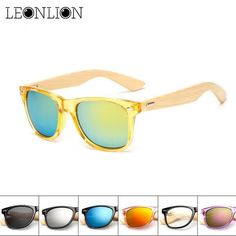 5e99e20309 Men Women Retro Classic Radiation Protection Eyewear Bamboo Wood Legs Colorful  Sunglasses is hot sale at NewChic