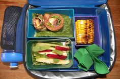 whole wheat, pesto, salami, colby & romaine rolls, pinapple-strawberry-mint leaf, & fresh grilled corn on the cob... ♥