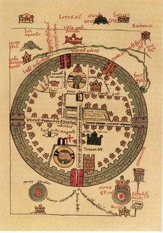 Old World Maps, Old Maps, Medieval World, Medieval Art, Vintage Maps, Antique Maps, Jerusalem Map, Map Globe, Knights Templar